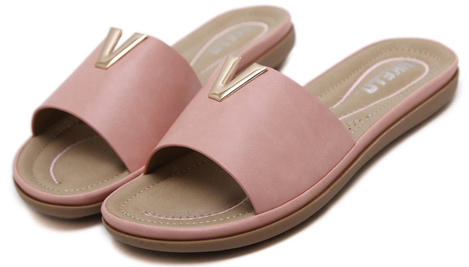 DolphinBanana Women's Comfy Slides Sandals Flat Slippers Soft Massage Padded Cushion Insole Breathable Design Glitter Gold V Stud, Pink Mules Clogs Anti Slip Gum Bubber Outsole