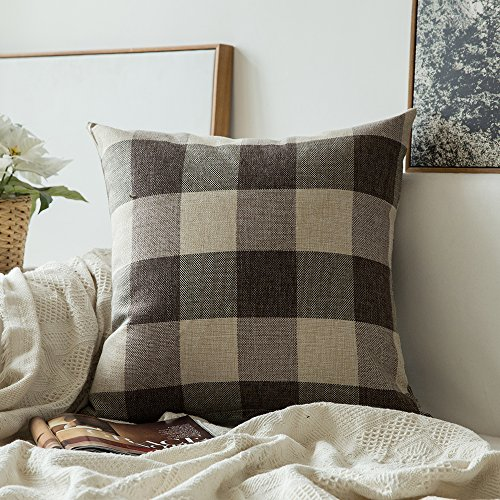 MIULEE Classic Retro Checkers Plaids Cotton Linen Soft Solid Brown and White Decorative Throw Pillow Covers Home Decor Design Cushion Case for Sofa Bedroom Car 24 x 24 Inch 60 x 60 cm