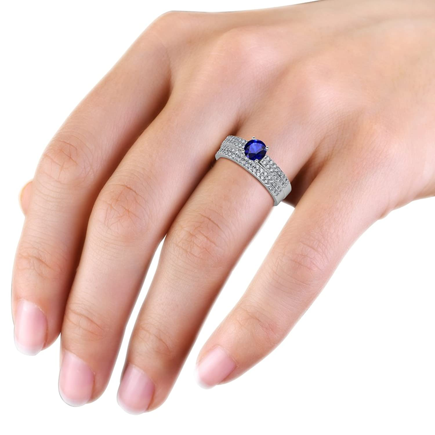 Amazon.com: Blue Sapphire and Diamond Double Row Engagement Ring ...