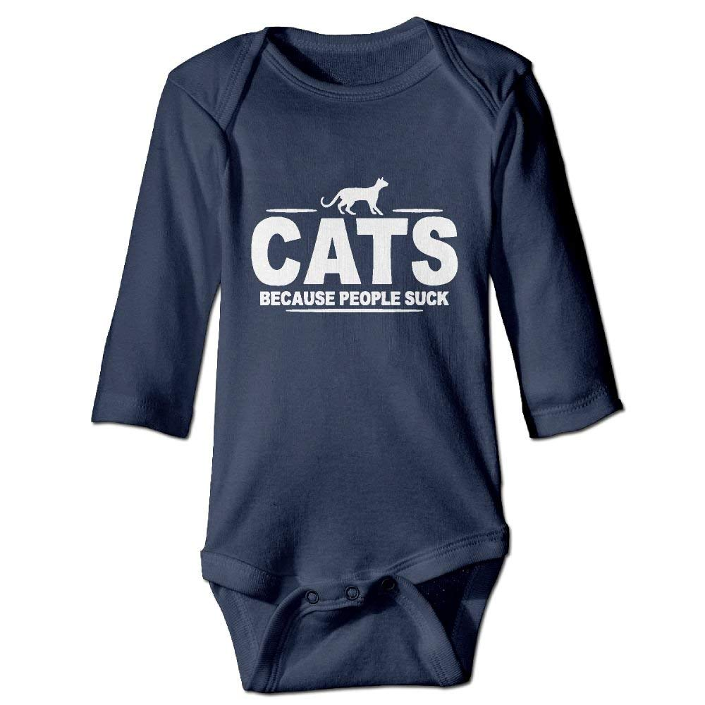 Cats Because People Suck Baby Girls Long Sleeves Triangle Jumpsuit for 6-24m Baby