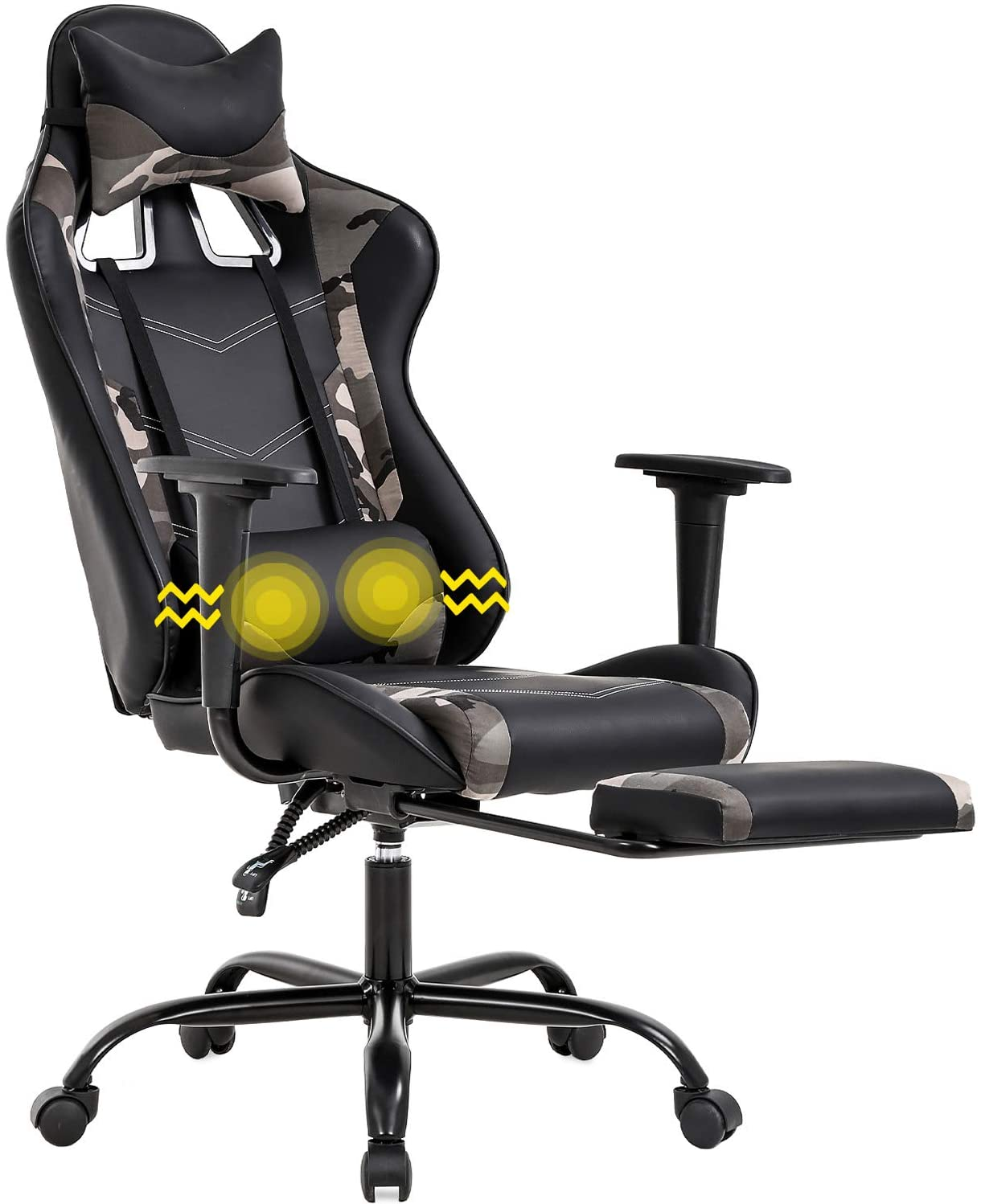 Gaming Chair Racing Office Chair Ergonomic Desk Chair Massage PU Leather Recliner PC Computer Chair with Lumbar Support Headrest Armrest Footrest Rolling Swivel Task Chair for Women Adults, Camo