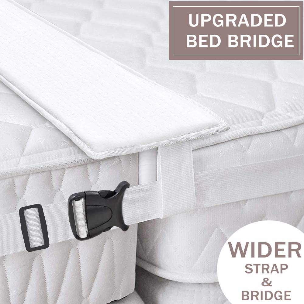 Ottolives Bed Bridge Twin to King Converter Kit, Mattress Extender Set to Fill in Gap, Memory Foam Filler Pad and Connector Strap for Guests Stayovers & Family Gatherings, Storage Bag Included by Ottolives