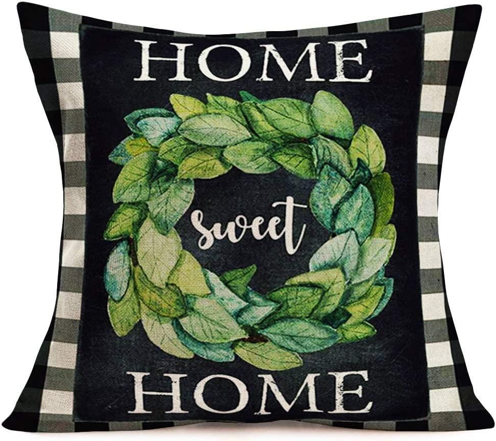 "Tlovudori Home Sweet Home Family Warm Quote Words Pillow Covers Decor Cotton Linen Black with White Buffalo Check Boxwood Green Leaves Garland Throw Pillow Case for Sofa Car 18""x18"" (HS-Green)"