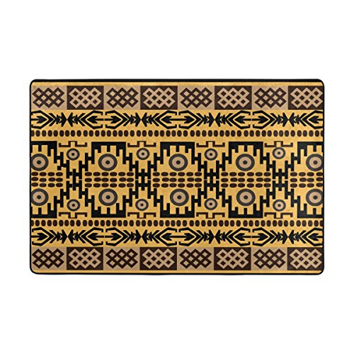 TSWEETHOME Doormat Front Door Mats Outdoor Inside Mats Personalized Welcome Mats with African Rug Texture for Chair Mat and Decorative Floor Mat for Office and Home (36 x 24 in & 72 x 48 in) -