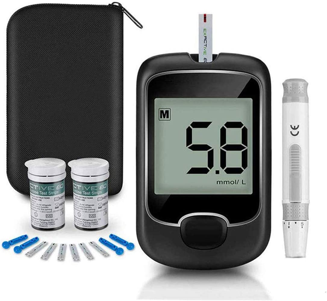 Blood Glucose Monitor Kit Diabetes Testing Kit, Exactive EQ Diabetes Testing Kit Blood Glucose Sugar Tester Kit with 50 Codefree Test Strips and 50 Lancets