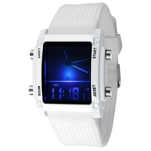 RLFS Reloj Unisex con Cuarzo Fecha Reloj de Cuarzo Blanco Digital (Blanco) por: Amazon.es: Relojes