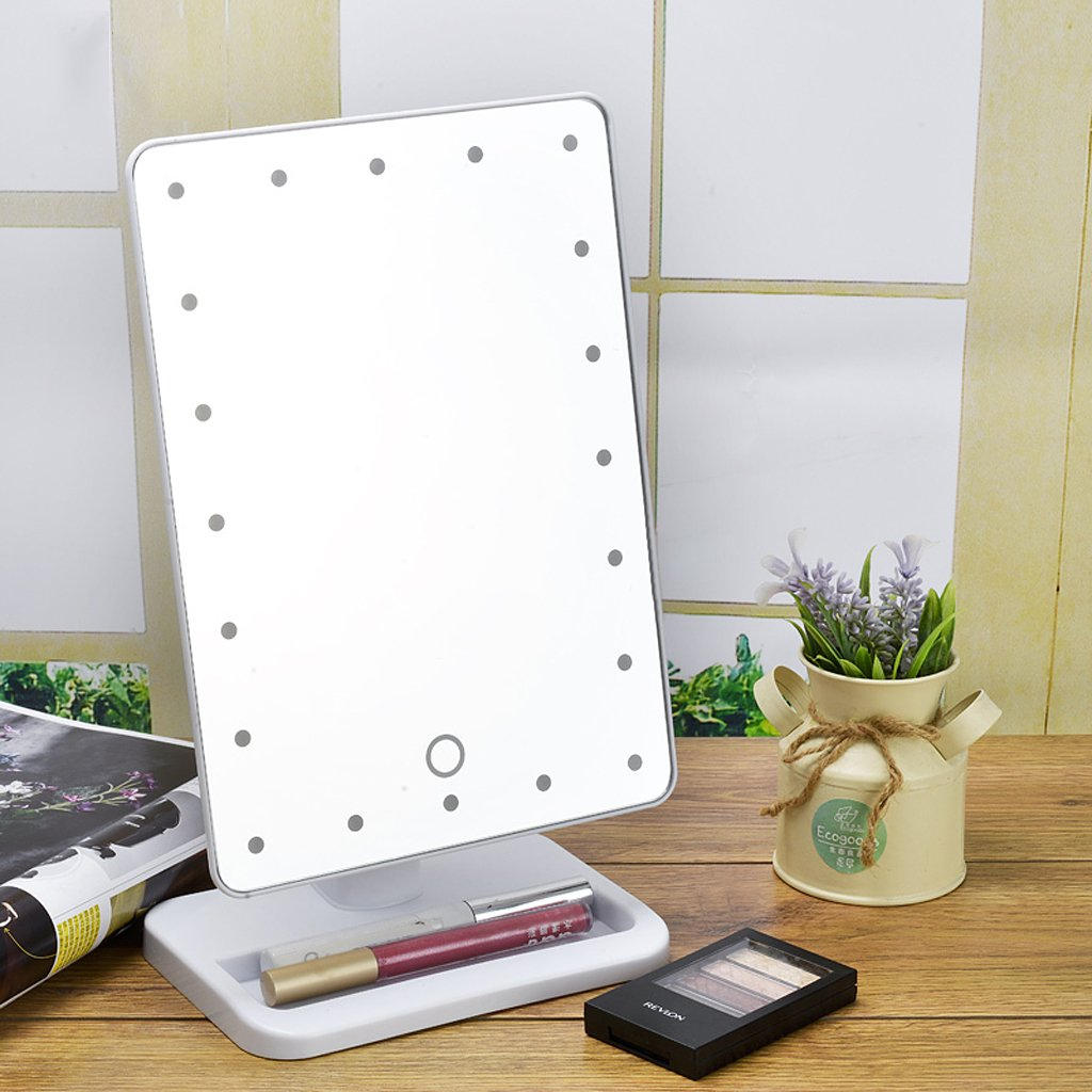 Amazon.com : Ovonni L207 20 LEDs Touch Screen Makeup Mirror Adjustable LED  Tabletop Countertop Lighted Make Up Cosmetic Vanity Mirror (Batteries  Included), ...