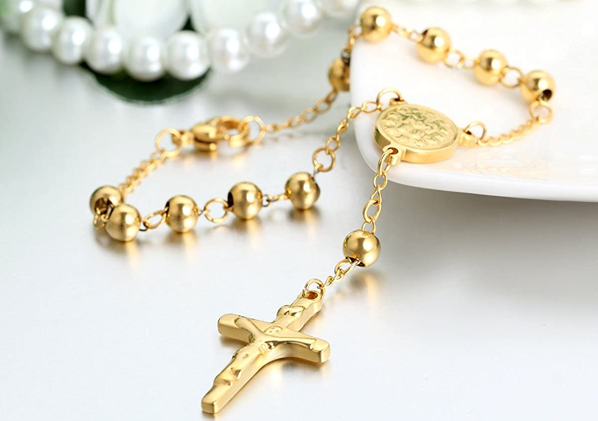 Natale Regalo Collana Preghiera JewelryWe Gioielli Bracciali in Acciaio Inossidabile Perline Jesus Gesu Cristo Crocifisso Croce da Uomo