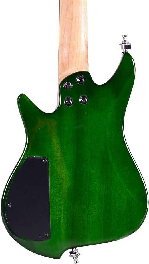 Asmuse Guitarra Eléctrica sin Cabeza, Guitarra LEAF pequeña de Escala Completa, Ultra-ligero para Viajes y Presentaciones-Verde