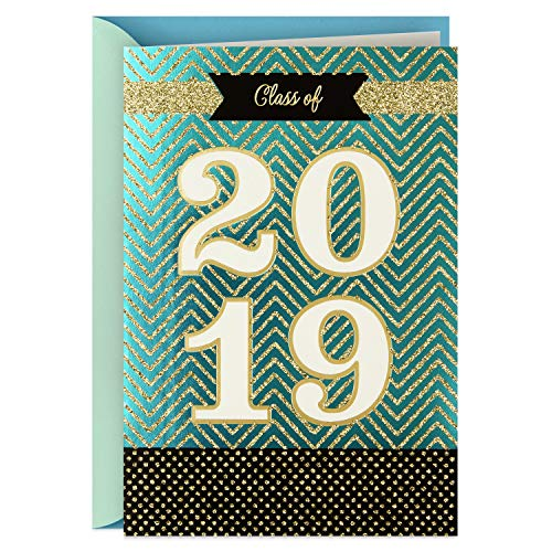 Hallmark Class of 2019 Graduation Card (Gold Glitter Congratulations) (Holders Card Graduation Gift)