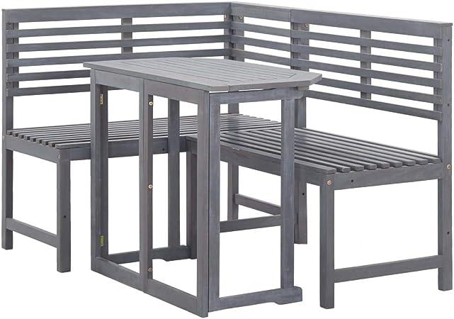 UnfadeMemory Muebles de Bistró de Jardín Terraza Balcón o Patio,Mesa y Banco de Esquina,Muebles de Jardín,Madera Maciza Acacia (Gris): Amazon.es: Hogar