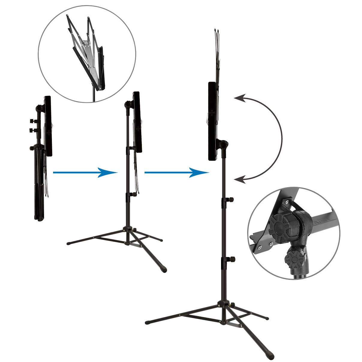 Music Stand Audo Folding Music Stand With Music Book Clip And Carry Bag Black (1Pack) by Audo (Image #3)
