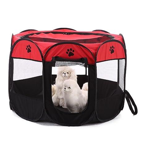 Jiacheng29 Portátil plegable mascota perro gato cachorro parque de juegos tienda de campaña al aire libre