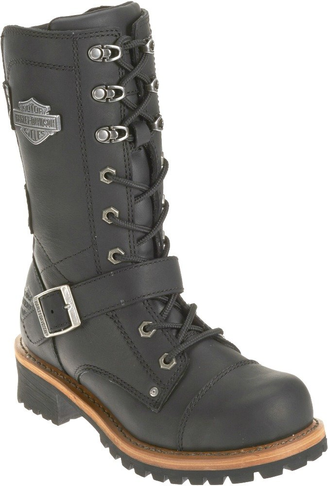 Harley-Davidson Women's Albara Leather Motorcycle Boots. D87066 (Black, 8)