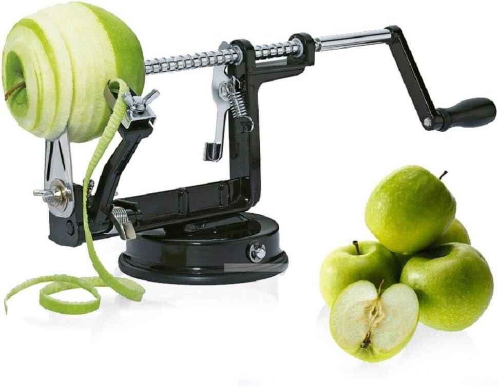 Apple peeler, Apple Peeler and Corer with Suction Base 3 in 1 Slinky Machine Durable Heavy Duty Die Apple Peelers Made In USA (Black)
