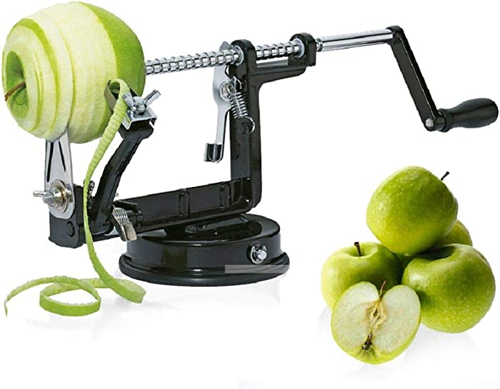 Apple peeler, Apple Peeler and Corer with Suction Base 3 in 1 Slinky Machine Durable Heavy Duty Die Apple Peelers Made In USA (Black)