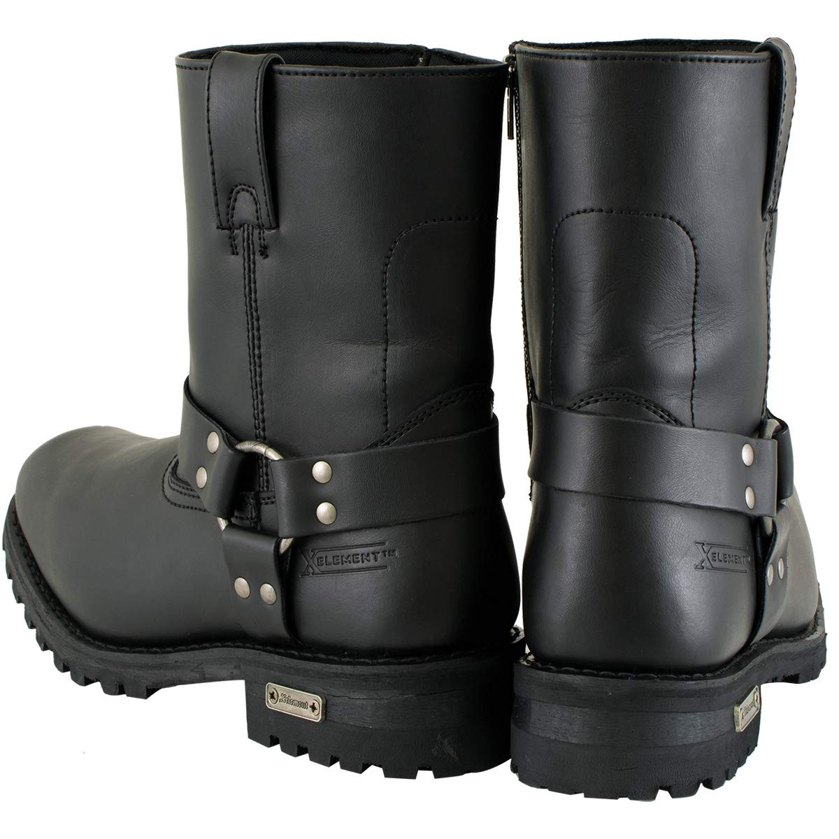 10 Xelement 1502 Mens Zipper Black Harness Motorcycle Boots