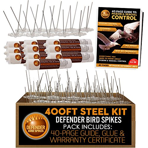 Defender Stainless Steel Bird Spikes Kit | 400 Feet with Glue | Various Size Kits