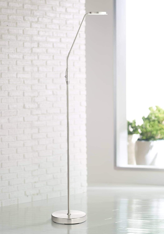 Harmon Modern Task Floor Lamp LED Brushed Nickel Adjustable Gooseneck Arm Glass Disk Shade for Living Room Reading Bedroom Office – 360 Lighting