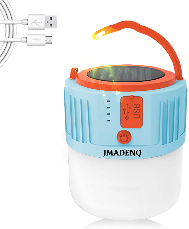 LED Camping Lantern, Portable Lantern Flashlight with 5 Light Modes, Fixture Lantern During Hurricane, Emergency, Hiking, Home, Solar Powered & USB Charge (Blue 1 Pack)