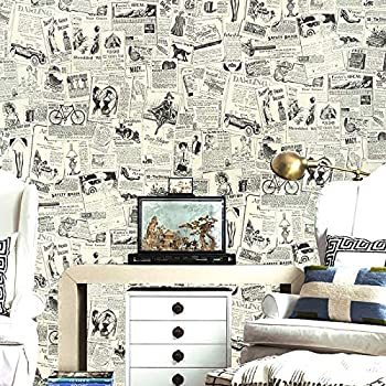 Haokhome 63275 Vintage Newspaper Wallpaper Peel And Stick 177 X 197ft Beigeblack Self Adhesive Thicker Material Contact Paper