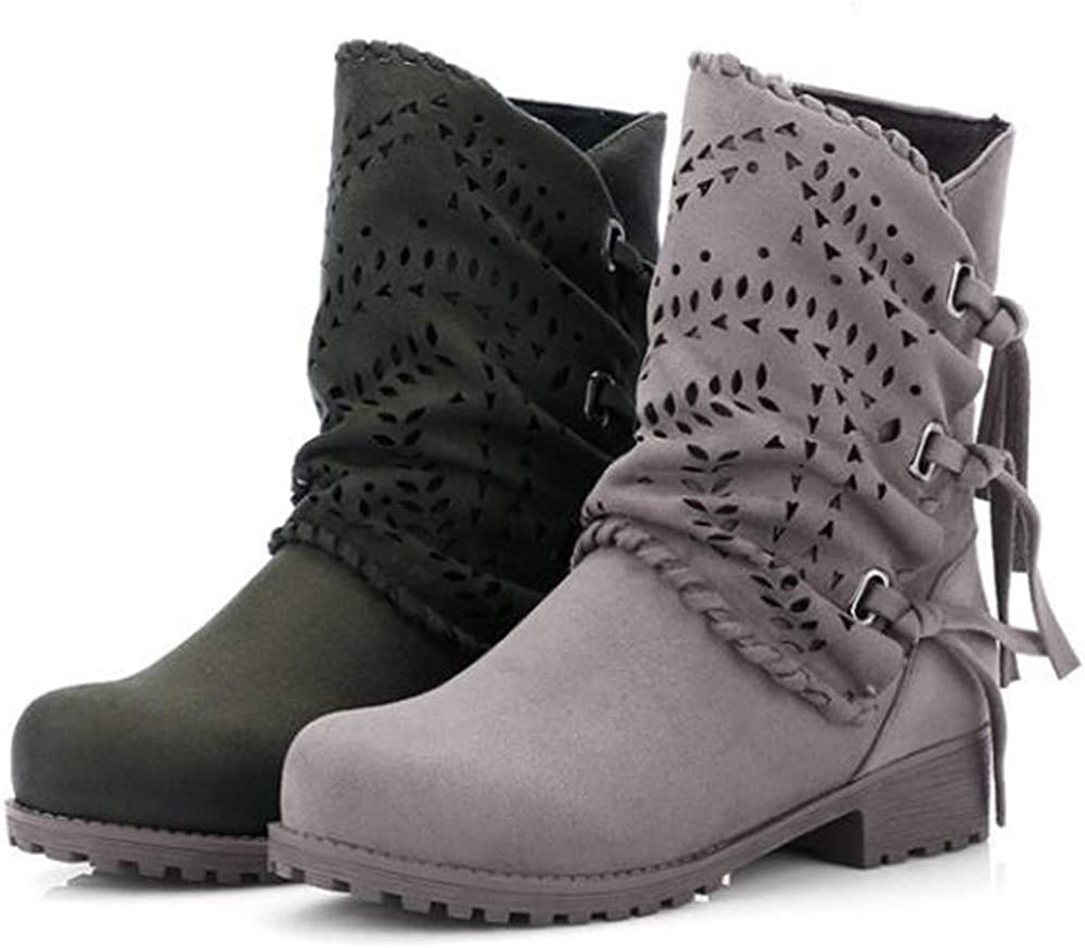 Womens Fashion Suede Hollow Out Bandage Ankle Boots Low Heel Flock Shoes Sunmoot Army Green