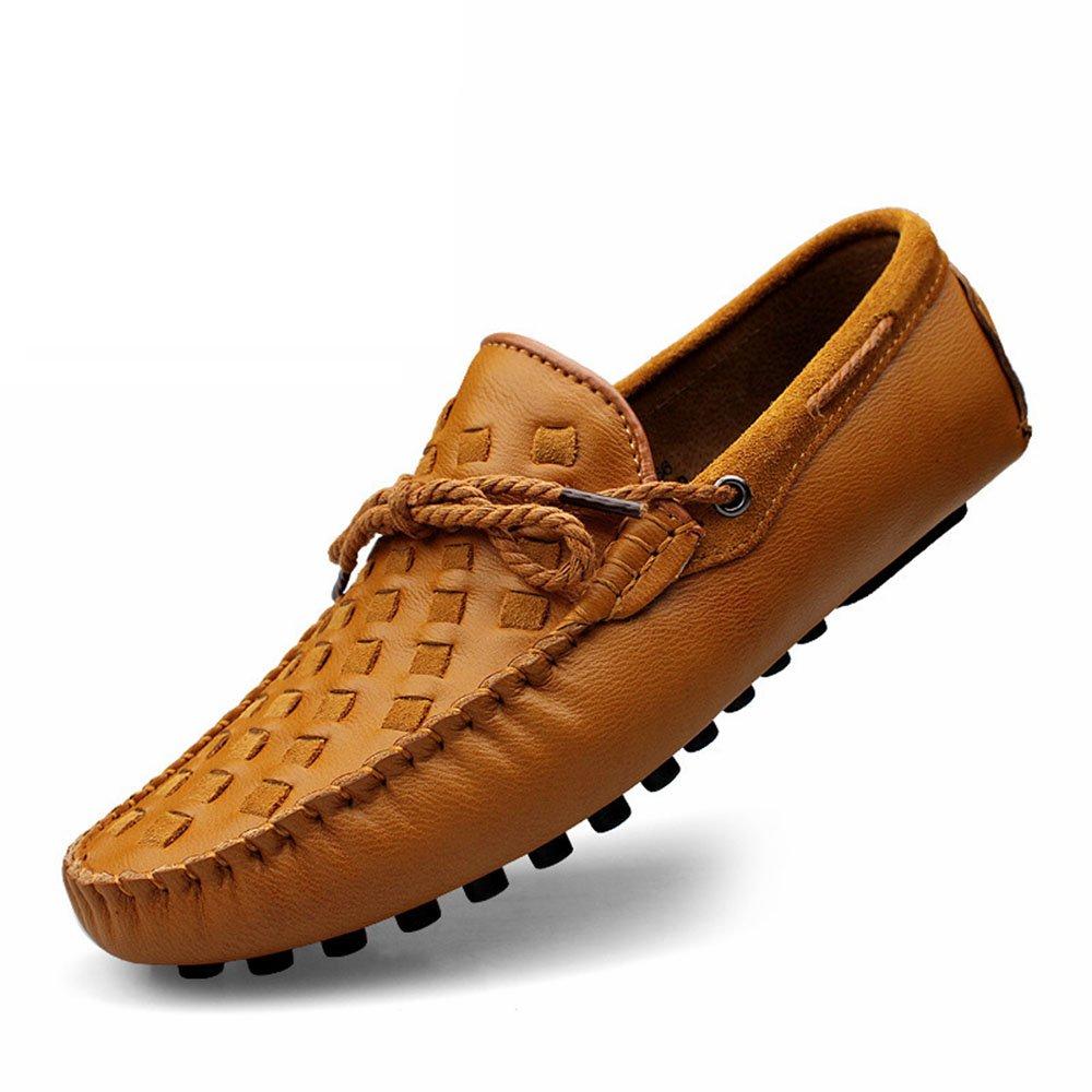 Zapatos Casuales de Ante de los Hombres Inglaterra Zapatos de Conducción Respirables Resistentes al Desgaste Mocasín 41 1/3 EU|Amarillo