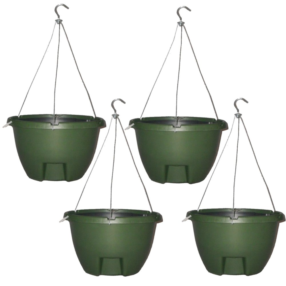"The Weekender 16"" Self Watering Hanging Planter FORREST GREEN 4 Pack by The Weekender"
