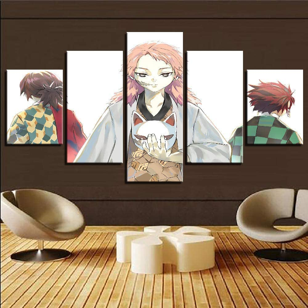 ELLCDRJ 5 Piece Canvas Painting Modern Wall Sticker Removable Paintings For Living Room Print Abstract Poster 3D Wall Art Pictures Cartoon Swordsman Anime Boy Picture (ell104)