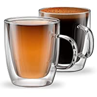 Set of 2 Double Wall Insulated Glass Coffee Mugs for Espresso, Latte, Cappuccino, Thermo Glassware, Modena Collection