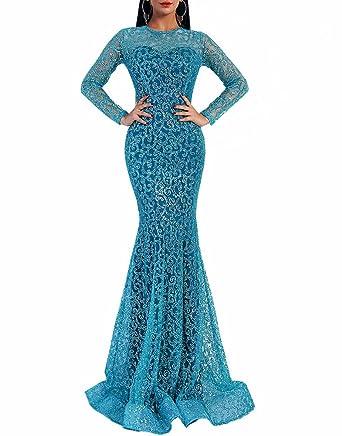 74af2b87ca558 LinlinQ Women O Neck Long Sleeve Pattern Glitter Bling Maxi Elegant Dress ( XSmall, Light