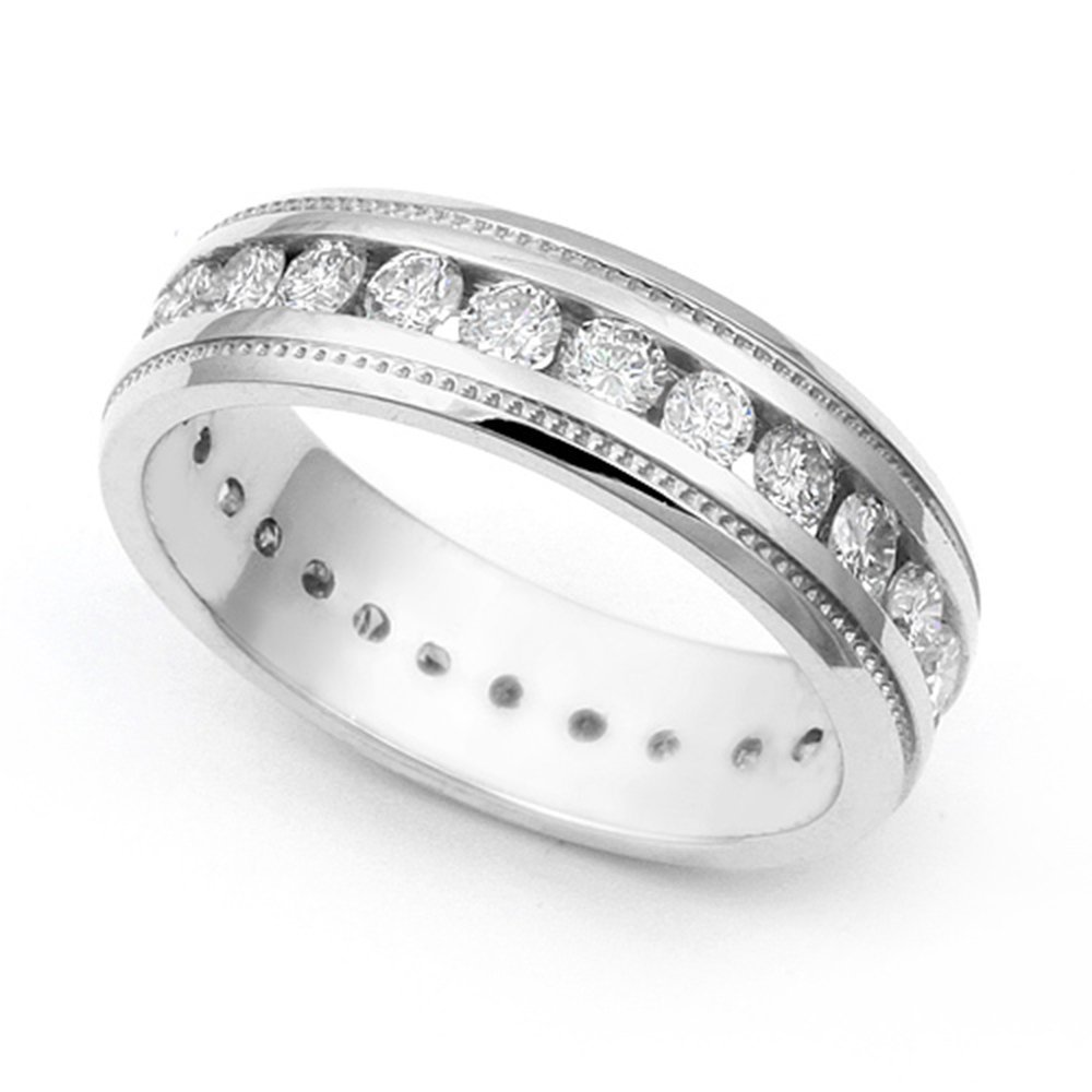 Platinum Channel set Diamond Eternity Milgrain Wedding Band Ring (G-H/SI, 1 3/5 ct.), 7