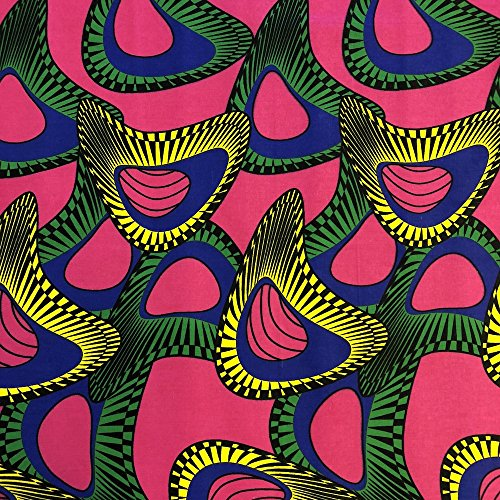 African Print Fabric Cotton Print 44'' wide Sold By The Yard 90146-4)