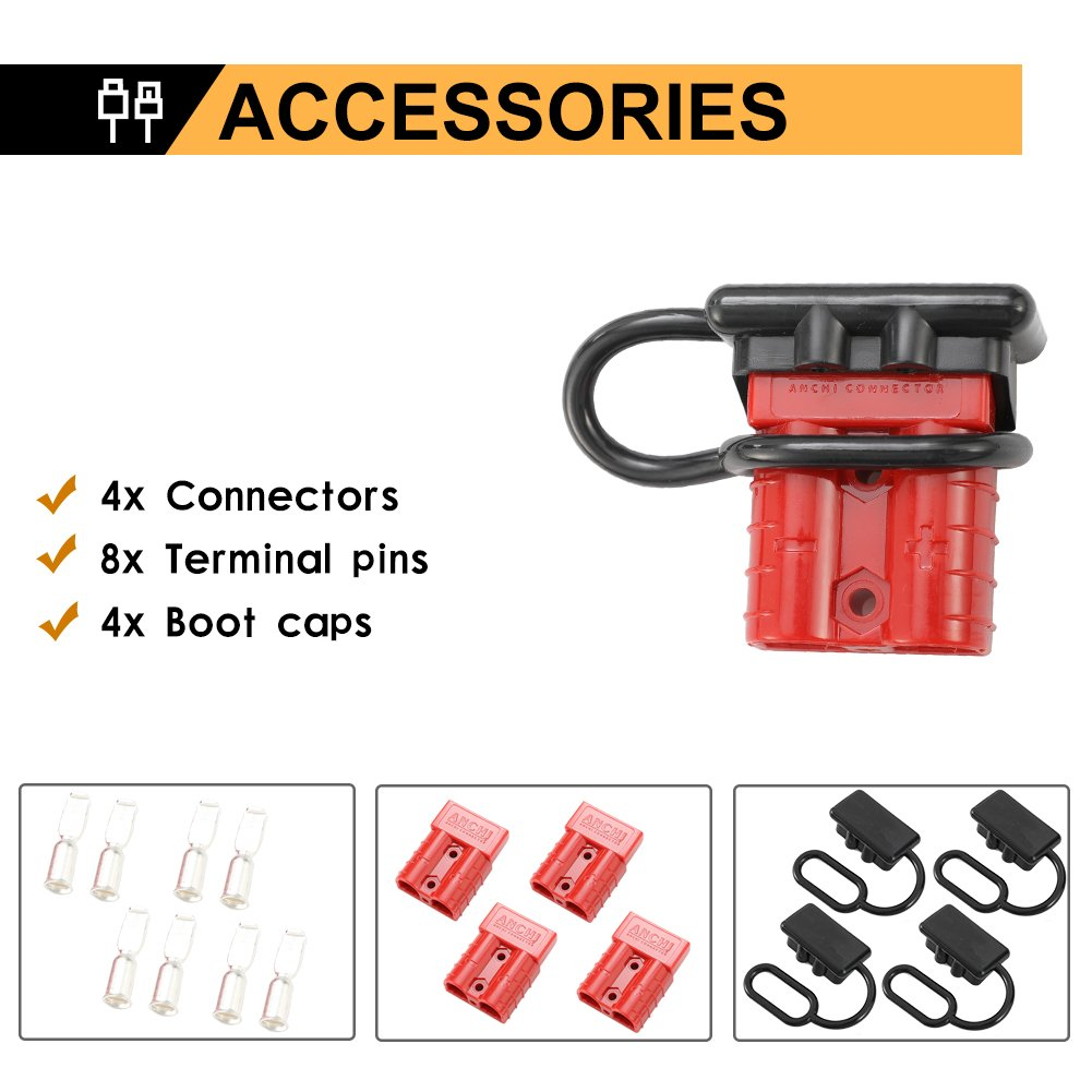 BUNKER INDUST 6-10 Gauge Battery Quick Connect//Disconnect Wire Harness Plug Kit 50A Battery Cable Quick Connect Disconnect Plug for Recovery Winch Trailer Auto Car Motorcycle Electrical Devices,2 Pcs