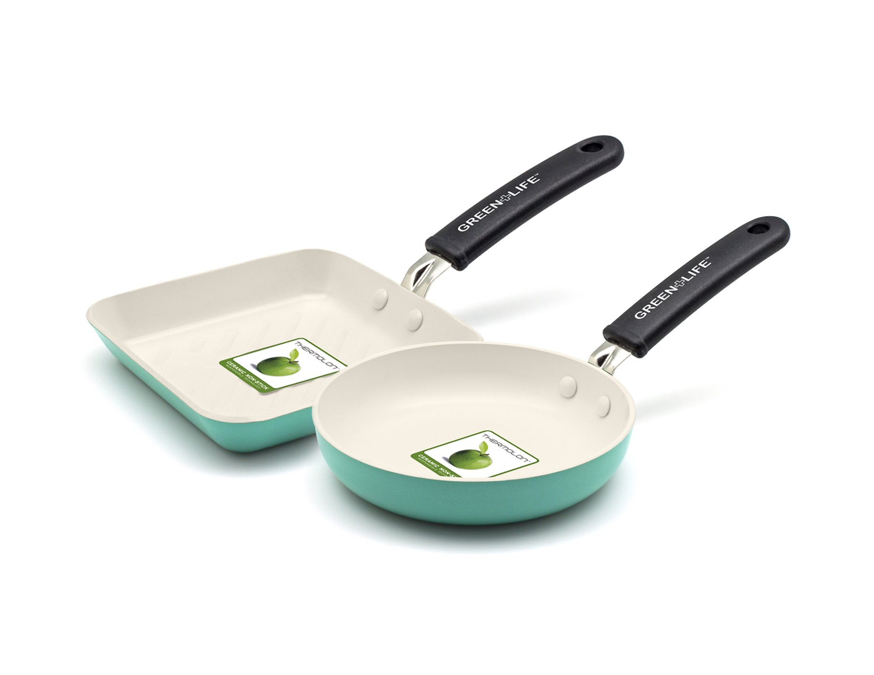 GreenLife Mini Square Grill Pan and Mini Round Egg Pan Set, Turquoise by GreenLife