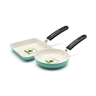 GreenLife Mini Square Grill Pan and Mini Round Egg Pan Set, Turquoise