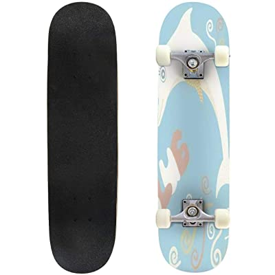 Classic Concave Skateboard Lovely Illustration with a Gentle Dolphin It is Intended for Cards Longboard Maple Deck Extreme Sports and Outdoors Double Kick Trick for Beginners and Professionals : Sports & Outdoors
