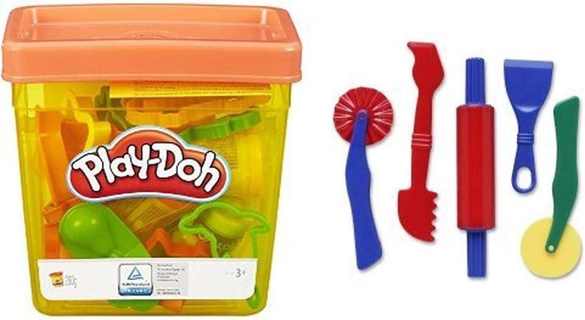 Play-Doh Fun Tub and Dough Tools - 5 Piece Assortment Bundle
