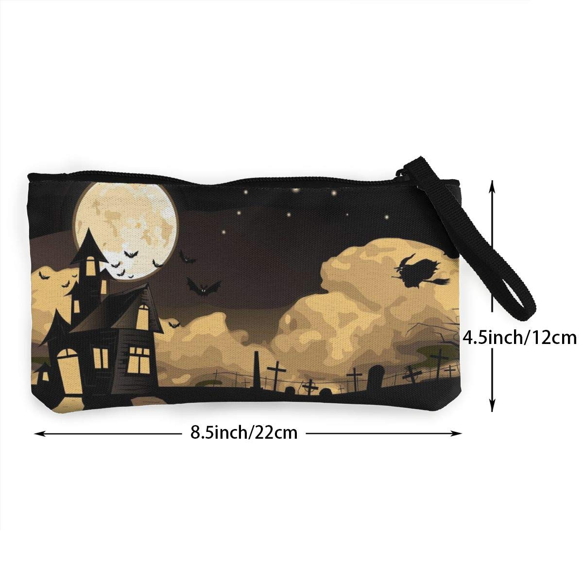 YUANSHAN Witches Halloween Unisex Canvas Coin Purse Change Cash Bag Zipper Small Purse Wallets with Handle
