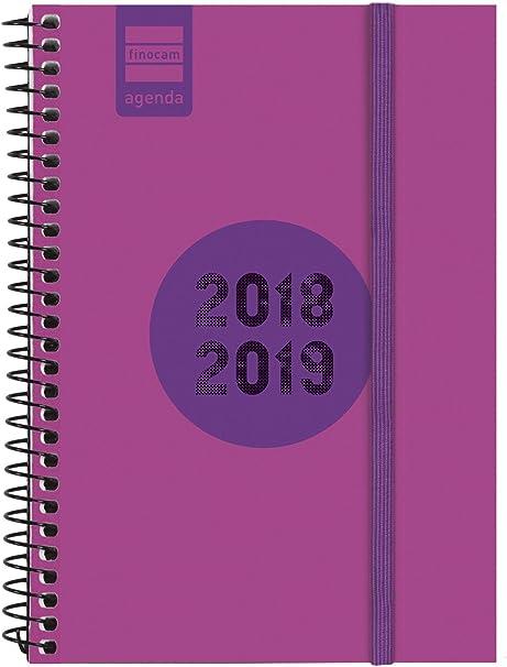 Finocam Espir Label - Agenda 2018-2019 semana vista apaisada portugués, 120 x 171 mm, rosa: Amazon.es: Oficina y papelería