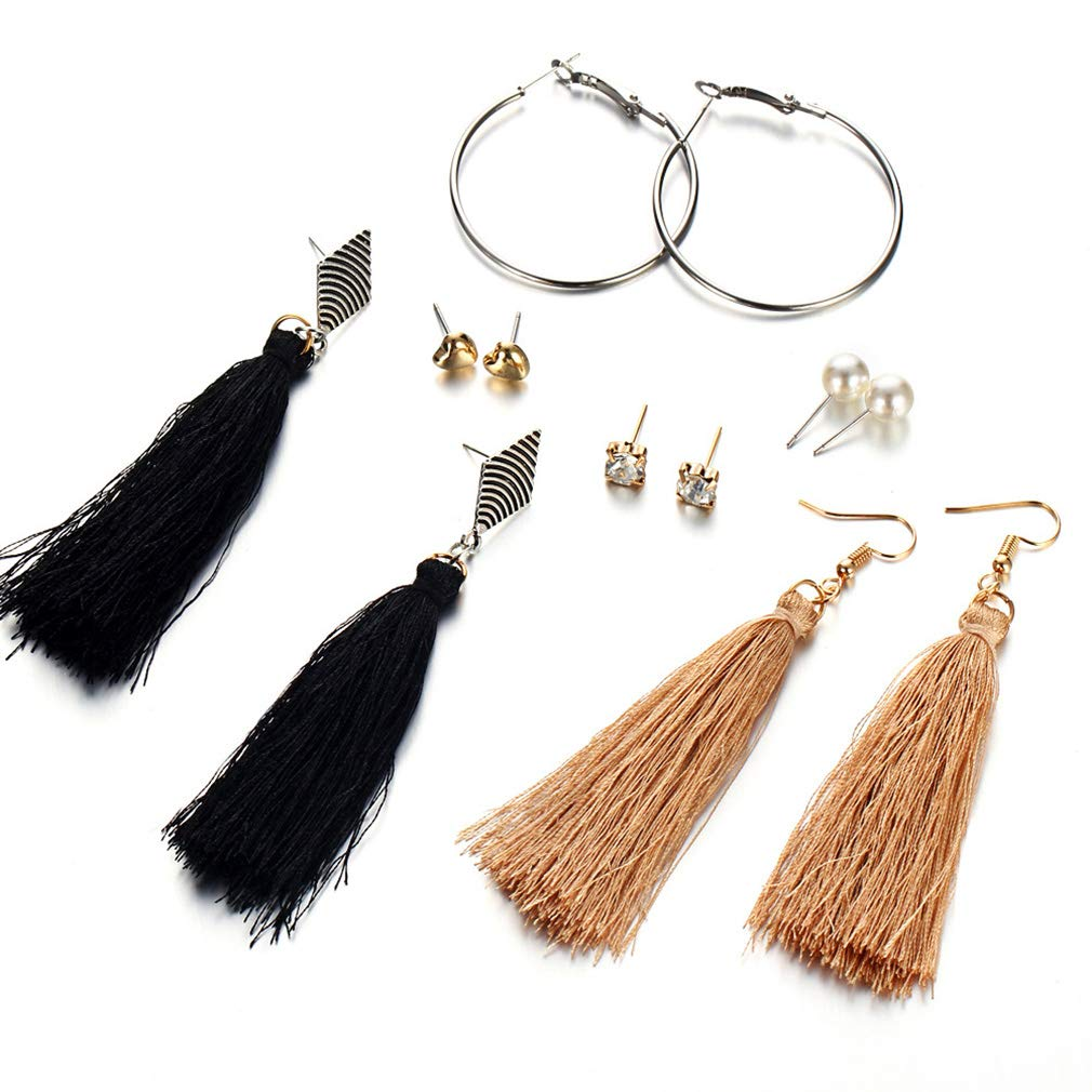 SOURBAN Bohemian Long Tassel Drop Earrings Set Pearl Beads Crystal Heart Statement Pendant Hoop Earring Stud Earring Set Jewelry,6 Pairs(Tassel)