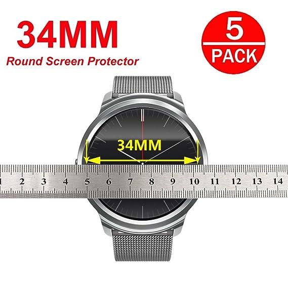 1484d5a220b5b [ 5-Pack] Universal Round Watch HD Screen Protector,Anti-Scratch,  Anti-Fingerprint, Bubble Free (34mm Diameter)