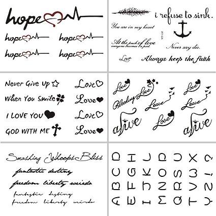 anzihuanxi Palabras Pegatinas De Tatuaje Temporal Letra Tatuaje ...