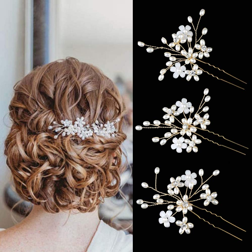 Sppry Wedding Hair Pins (3 Pcs) - Elegant Pearl Floral Crystal Hair Accessories for Bridal Women (Gold) by Sppry