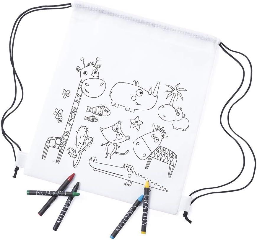 MIRVEN - Lote 30 Mochilas Infantiles Animales para Colorear. Cada Una Incluye 5 Ceras de Colores Fiestas de Cumpleaños