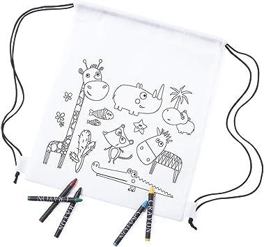 MIRVEN - Lote 30 Mochilas Infantiles Animales para Colorear. Cada Una Incluye 5 Ceras de Colores Fiestas de Cumpleaños: Amazon.es: Equipaje