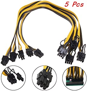 Uranny 5X Power Cable PCI-E 6P to 8P for DPS-1200FB Ethereum Mining Breakout Board 50CM