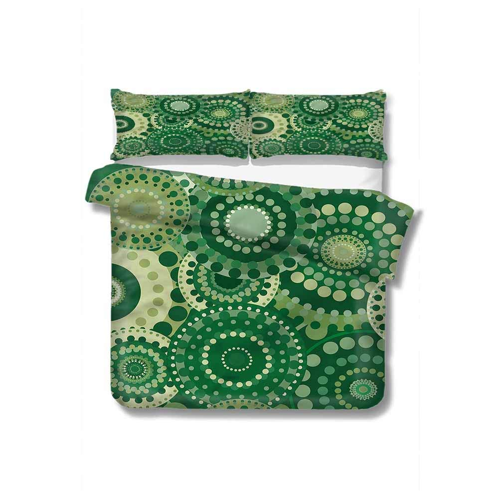 """VROSELV-HOME Full Queen Duvet Cover Sets,Box Stitched,Soft,Breathable,Hypoallergenic,Fade Resistant Bedding Set for Teen 3Pcs-Green Retro Ornament Floral Figures (68"""" W x 85"""" L)"""