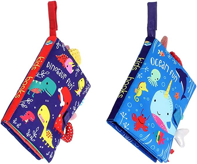 2 Packs Activity Crinkle Cloth Book for Toddler Infants and Kids Perfect for Baby Shower ORAPOH Dinosaur and Ocean Tail Baby Early Education Toy