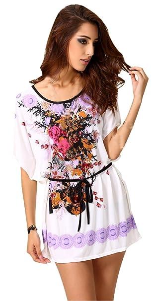 7f5841e787b43 Blusas De Vestir Tallas Grandes Camisetas Mujer Largas Camisas Estampadas  Verano Impreso Floral Tops Manga Corta Tunicas Fiesta Moda Largo Camiseras  Cuello ...